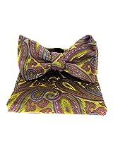 FBT-VS-583 - Gold - Fuschsia - Green - Ultra Modern Self Tie Bow Tie Hanky