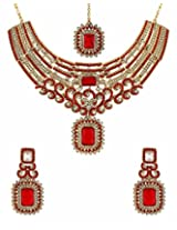 Voylla Red-White Glittering Stones Decked Maang Tika Set