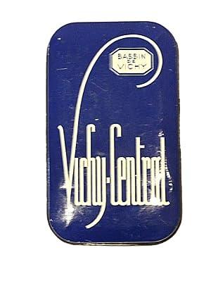 Vintage Vichy-Central Bassin de Vichy Tin, Blue/White