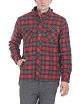Zobello Men's Hooded Lumberjack Winter Shirt(51045B_Tartan Red/Bottle Green_Medium)