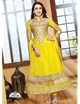 Bhuwal Fashion Yellow Faux Georgette Embroidered Patch Work  Anarkali Suit