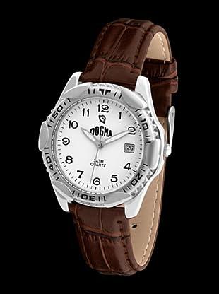 Dogma G1014 - Reloj de Caballero movimiento de quarzo con correa de piel marrón