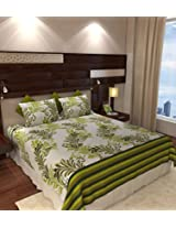 Home Candy 144 TC Elegant Cotton Double Bedsheet with 2 Pillow Covers - Green (CTN-BST-335)