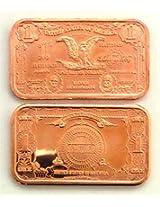 1 4 Piece Currency Design Copper Bar Set | 1 Avdp Ounce .999 Fine Copper Ingot Copper
