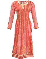 Lucknow Chikan Industry Women's Georgette A- Line Kurta (LCI-445, Red, M)