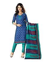Divisha Fashion Blue Cotton Printed Churiddar Suit with Dupatta