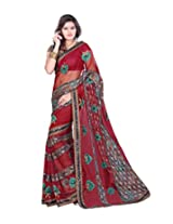 Sangam Red Ner Kahida Work Sari With Inner & Blouse