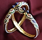 Cz Peacock Bangles With Enamel And Gold Plating (Size 2.8)