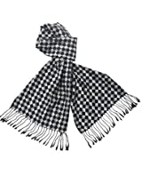 Reversible Classic Checkers Rayon Silky Cashmere-Feel Tassel Ends Long Scarf