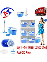 """Magic Spin Mop 360° Spin Mop Rotating Pole & Bucket """"No Foot Pedal"""" with 2 Microfiber Heads"""