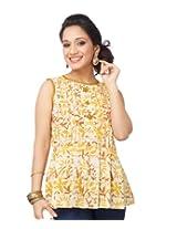 Enah Women's Cotton Yellow Batik Peplum Top Large (132 / Top / Mustard-Large)