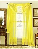 CURTAIN SOLID VOILE SHEER FULLY STITSHED HEMMED WINDOW CURTAIN PANEL DRAPE MULTIPURPUSE WONDOW CURTAIN (90x200cm, Yellow)