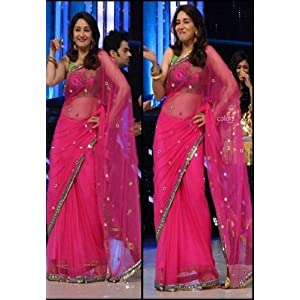 Madhuri Dixit Pink Net Saree with Green Broket Blouse