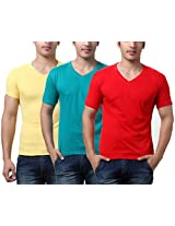TeeMoods Pack of Three Men's V Neck Tshirts-Red, Yellow & Sea Green_TM-C-1549RGRN-YEL-RED-XL