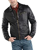 Iftekhar Men's Pure leather Jacket - Black - (Iftekhar31 - S)