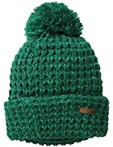 Coal Women's The Kate Waffle-Knit Beanie with Oversized Pom, Jewel Green, One Size