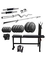 Dixon Men's Rubber & Steel 50 Kg Home Gym Set Standard Silver & Black - DGM 29