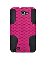 Amzer 93987 Silicone-Perforated PolyCarbonate Hybrid Case - Black/ Hot Pink for Samsung Galaxy Note