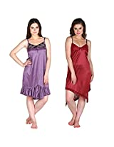 Secret Wish Satin Babydoll Dress Set of 2 (Multi, Free Size)