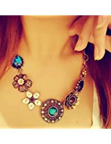 Leiothrix Hot Bohemian Vintage Alloy Necklace With Flower Rhinestone For Women And Girls Apply To Weeding Party Casual