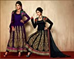 Salwar Suit Georgette with Jacket - Purple & Black