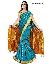 Minaxi Poly Cotton Saree (1031 _Rama Green)