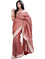 Exotic India Garnet-Red Banarasi Saree with Woven Bootis All-Over and Silv - Red