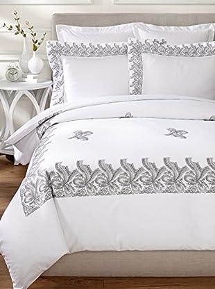 Dea Francesca Lace Duvet Set (White/Light Grey)