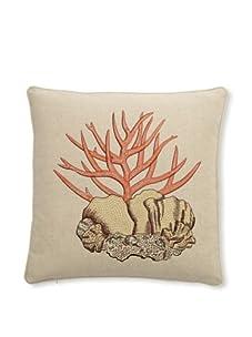 "D.L. Rhein Coral Embroidered Cotton/Linen Blend Pillow, Coral, 16"" x 16"""
