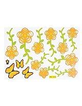 Orange Green Vivid Butterflies Floral Leaf Print Wall DIY Stickers Ornament 14 in 1