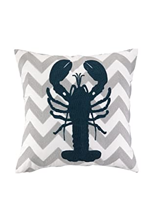 Peking Handicraft Lobster Embroidered Chevron Pillow