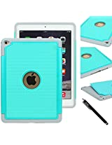 IPAD AIR 2 CASE, E LV iPad Air 2 Case Cover, Hybrid Dual Layer Armor Defender Protective Case Cover with 1 Black Stylus for iPad Air 2 - TEAL / MINT
