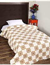 Unique Hand Block Printed Cotton Quilt Single White Floral By Rajrang