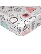 Lolli Living Sparrow Fitted Sheet - Sparrow Print - 100% Cotton Sheet, Fully Elasticized With Extra Deep Corners For Secure Fit, Gentle On Baby Skin.