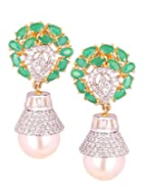 Silver with Gold Stylish Ear Piece with Crystals, AD Stones, Emerald and Pearl