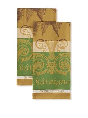 Garnier-Thiebaut Set of 2 Chataignes Kitchen Towels, Marron