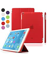 Elite Ultra Thin Smart Flip Foldable Flip Case cover Apple iPad Air 2 (iPad 6) Tablet with Glittering stylus (Sleep/wakeup) (Red)