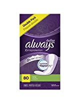 Always Xtra Protection Unscented Daily Liners, Long, 80 Count