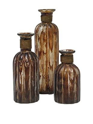 Set of 3 Palencia Bottles, Brown