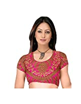 Fabfirki Brown and Pink Embroidered Dupian Blouse