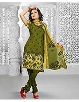 Alluring Mehendi Green & Yellow Chanderi Cotton Silk Salwar Kameez