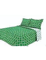 Eileen West Lattice by Melange Home Super Soft Quilt Set, Twin, Green