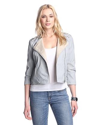 Sam Edelman Women's Evan Faux Leather Jacket with Studs (Blue)