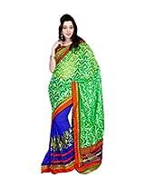 Viva N Diva Blue & Green Color Banarasi Net Jacquard Saree.