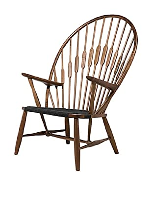 Euro Home Collection Peacock Chair, Walnut