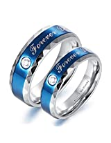 Via Mazzini 316L Stainless Steel Love Birds Crystal Couple Rings (Ring0112)