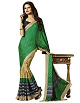 Appealing Green Colored Printed Crape Saree by Triveni
