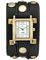 La Mer Collections Women's LMLW1010J Gold-Tone Watch with Wraparound Black Leather Band