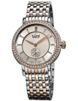 Burgi Women's BUR099TTR Swiss Quartz Diamond Dial Silver-tone & Rose-tone Stainless Steel Bracelet Watch