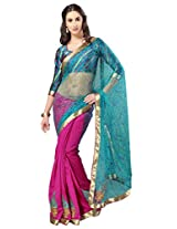 Admyrin Magenta and Blue Half n Half Saree with Blue Blouse Piece
